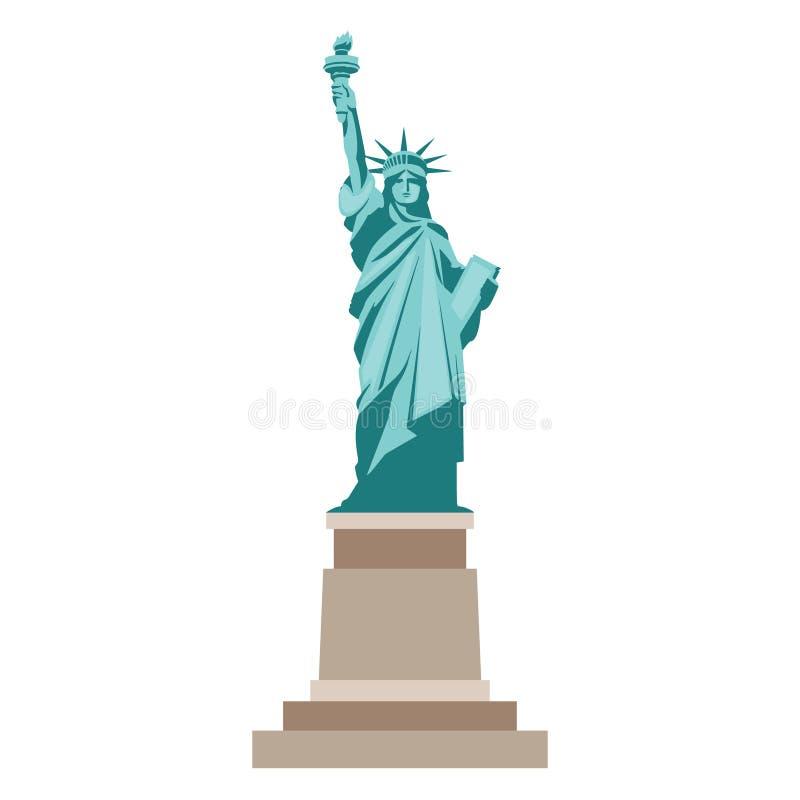 Odosobniona statua wolności na białym tle ilustracji