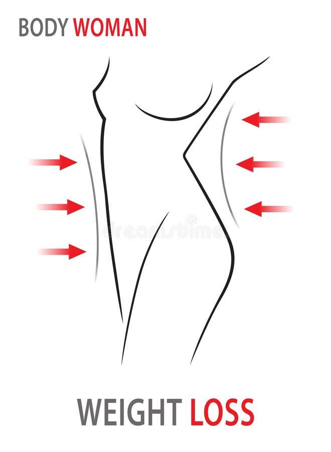 odosobniona straty miara półpostaci ciężaru białej kobiety Kobiety ciało, talii dieta również zwrócić corel ilustracji wektora ilustracja wektor