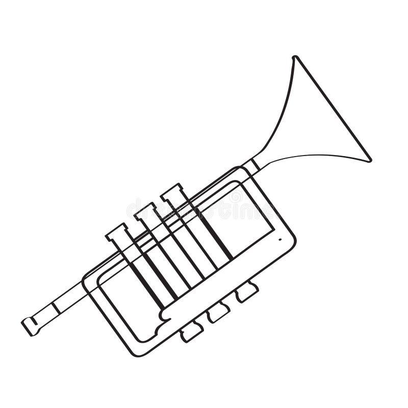 Odosobniona tubowa ikona hornsection instrument muzyczny części saksofon ilustracji