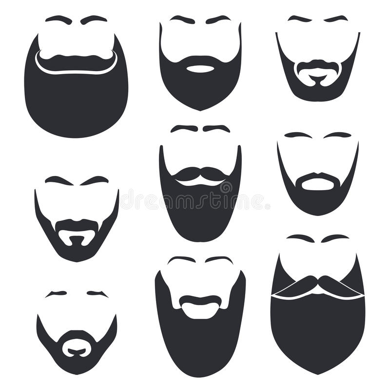 Odosobniona twarz z wąsy i brody loga wektorowym setem Mężczyzna fryzjera męskiego sklepu emblemat ilustracja wektor