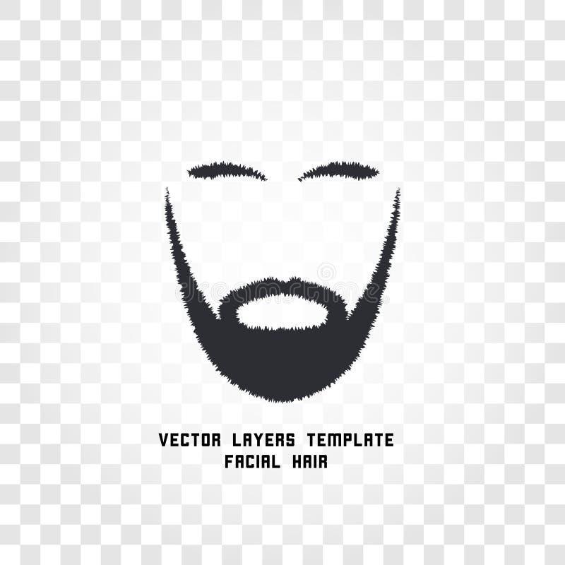 Odosobniona twarz z wąsy i brody wektoru logem Mężczyzna fryzjera męskiego sklepu emblemat ilustracji