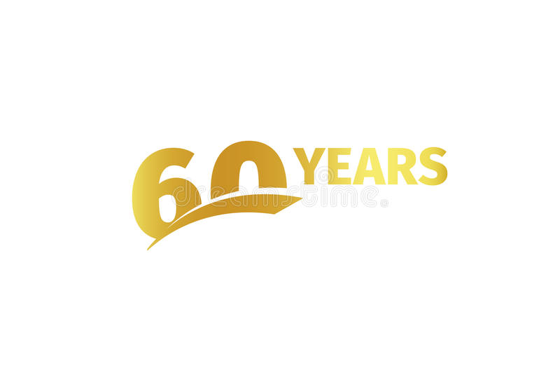 Odosobniona złota kolor liczby 60with słowa rok ikona na białym tle, urodzinowy rocznicowy kartka z pozdrowieniami element ilustracja wektor
