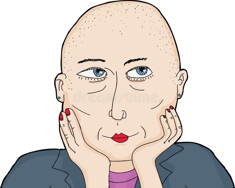 Odosobniona Zastanawia się kobieta z Ogoloną głową ilustracji