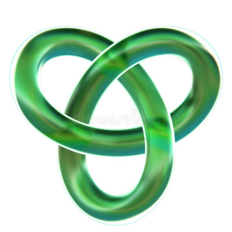 Odosobniona zielona koniczyny pętli kępka 3D odpłaca się na białym tle zdjęcia stock