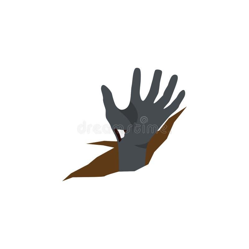 Odosobniona zwłoki ręki mieszkania ikona Żywego trupu Wektorowy element Może Używać Dla żywego trupu, zwłoki, ręka projekta pojęc royalty ilustracja