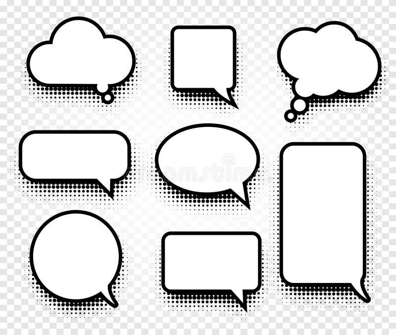 Odosobnione abstrakcjonistyczne czarny i biały kolor komiczek mowy balonów ikony inkasowe na w kratkę tle, dialog pudełka royalty ilustracja