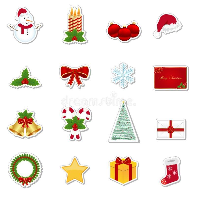 odosobnione Boże Narodzenie etykietki ustawiają biały majcheru xmas royalty ilustracja