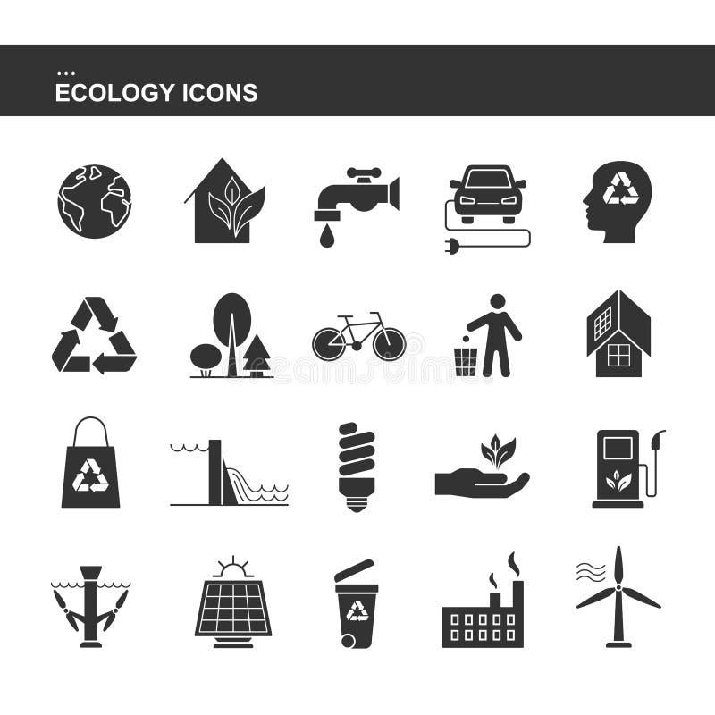Odosobnione czarne inkasowe ikony elektryczny samochód, panel słoneczny, kosz, wiatrowa hydroelektryczna pływowa elektrownia, życ ilustracja wektor