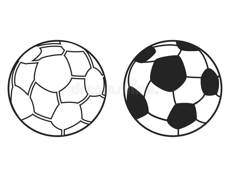 Odosobnione czarne piłki nożnej piłki konturu ikony ustawiają, wektor royalty ilustracja