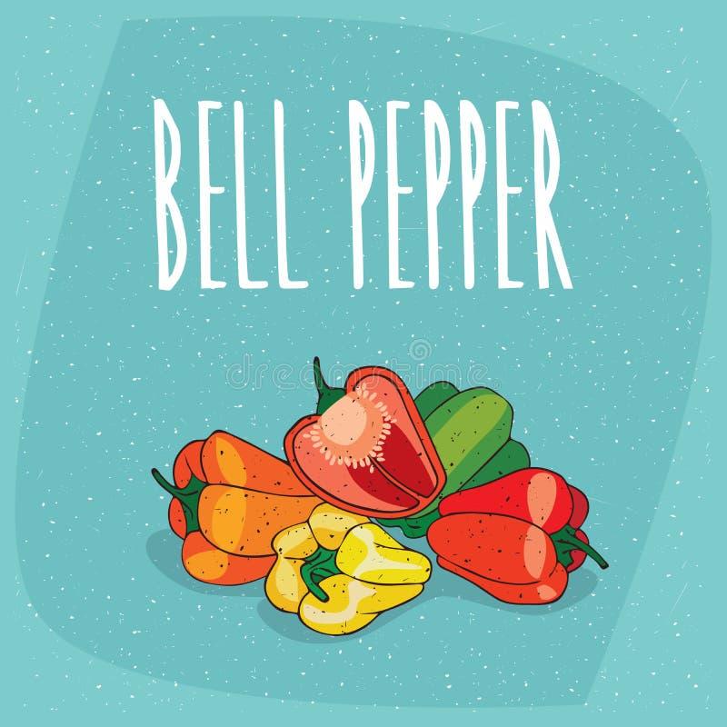 Odosobnione dojrzałe capsicum owoc lub dzwonkowy pieprz ilustracji
