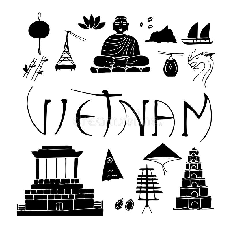 Odosobnione ikony Wietnam royalty ilustracja