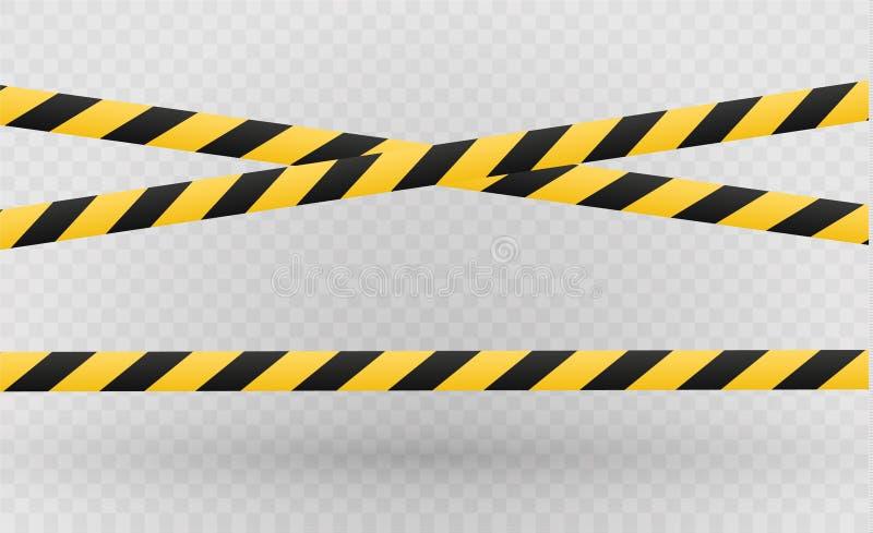 Odosobnione linie izolacja Realistyczne ostrzegawcze taśmy Znaki niebezpieczeństwo Wektorowa ilustracja, odizolowywająca na komór ilustracji