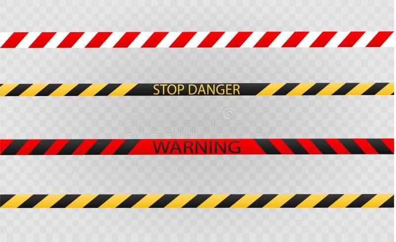 Odosobnione linie izolacja Realistyczne ostrzegawcze taśmy Znaki niebezpieczeństwo Wektorowa ilustracja, odizolowywająca na komór royalty ilustracja