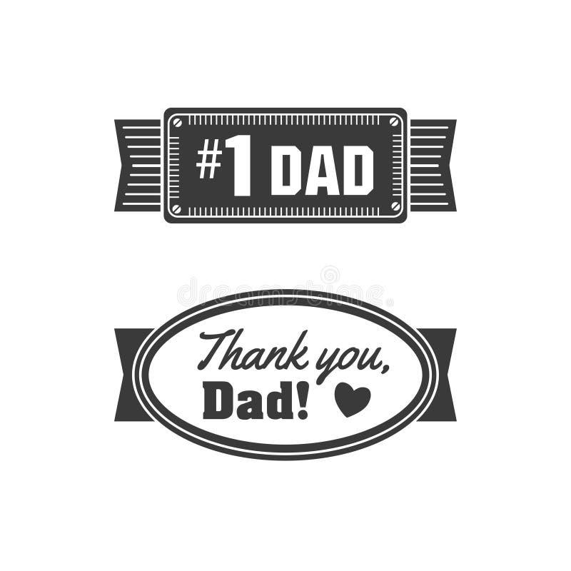 Odosobnione Szczęśliwe ojca dnia wycena na białym tle Dziękuje ciebie, tata Gratulacje tata etykietka, odznaka wektor ilustracja wektor