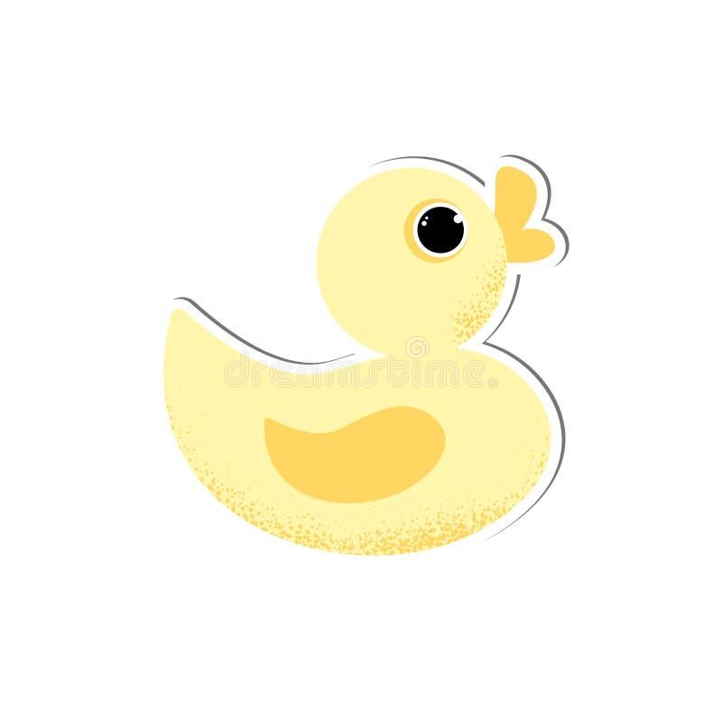 Odosobnionego ślicznego dziecka kaczki gumowy wektor royalty ilustracja