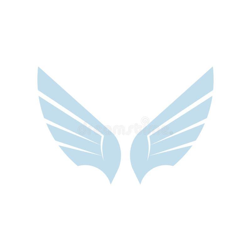 Odosobnionego abstrakcjonistycznego błękitnego koloru elementu ptasi logo Rozprzestrzeniać uskrzydla z piórko logotypem Lot ikona ilustracja wektor