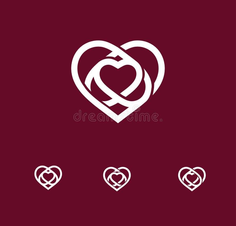 Odosobnionego białego abstrakcjonistycznego monoline loga kierowy set Miłość logotypy St walentynek dnia ikona Ślubny symbol Amou ilustracja wektor