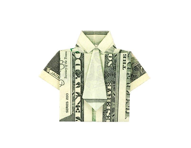 Odosobnionego pieniądze origami dolarowa koszula z krawatem dla biznesowego projec fotografia royalty free