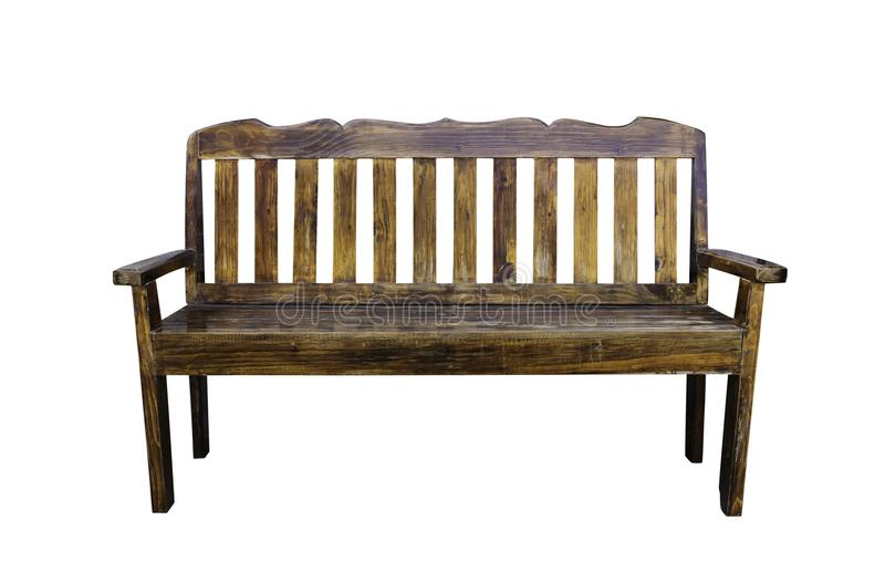 Odosobnionego rocznika drewniana ławka na bielu z ścinek ścieżką obrazy royalty free