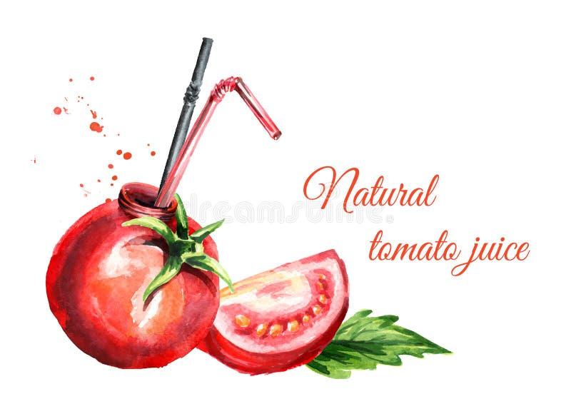 odosobnionego soku naturalny pomidor Akwareli ręka rysująca ilustracja, odizolowywająca na białym tle ilustracji