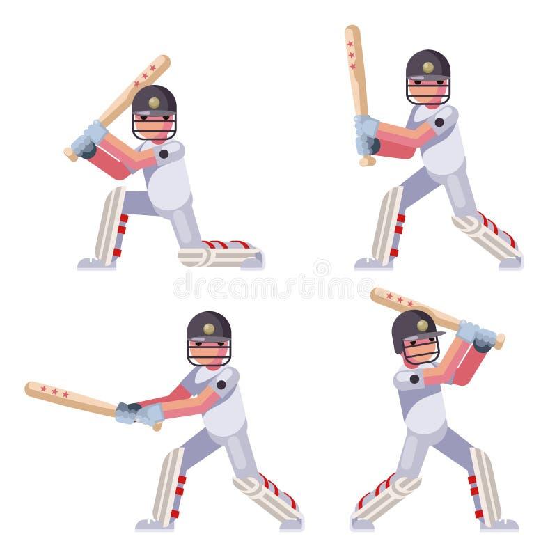 Odosobnionego uderzenie kijem sporta krykieta pałkarza kija bejsbolowego piłki gemowi charaktery ustawiają płaską projekta wektor royalty ilustracja