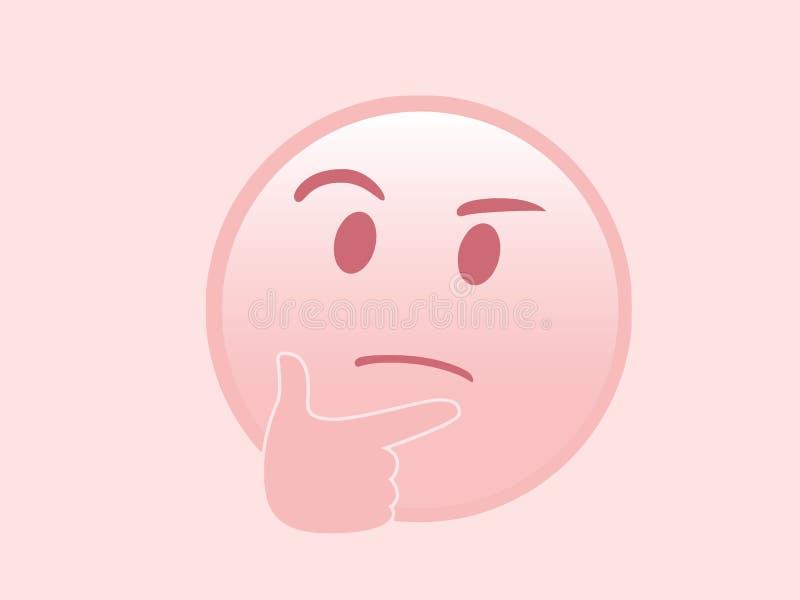 Odosobnionego wektoru różowa rozpamiętywa twarz z prawa ręka ikony mieszkaniem ic royalty ilustracja