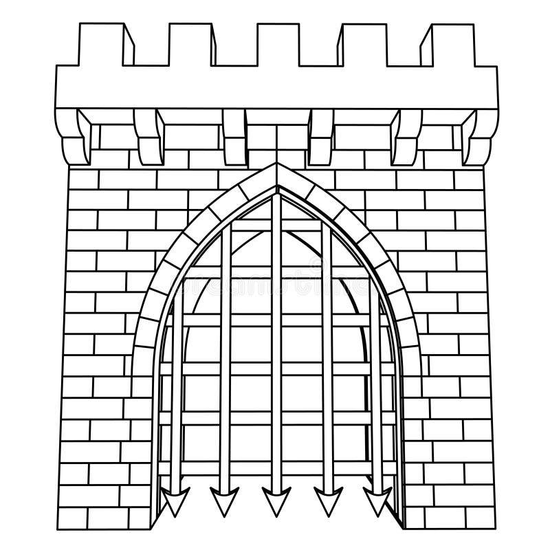 Odosobnionej średniowiecznej bramy wektorowy rysunek lub kolorystyka royalty ilustracja