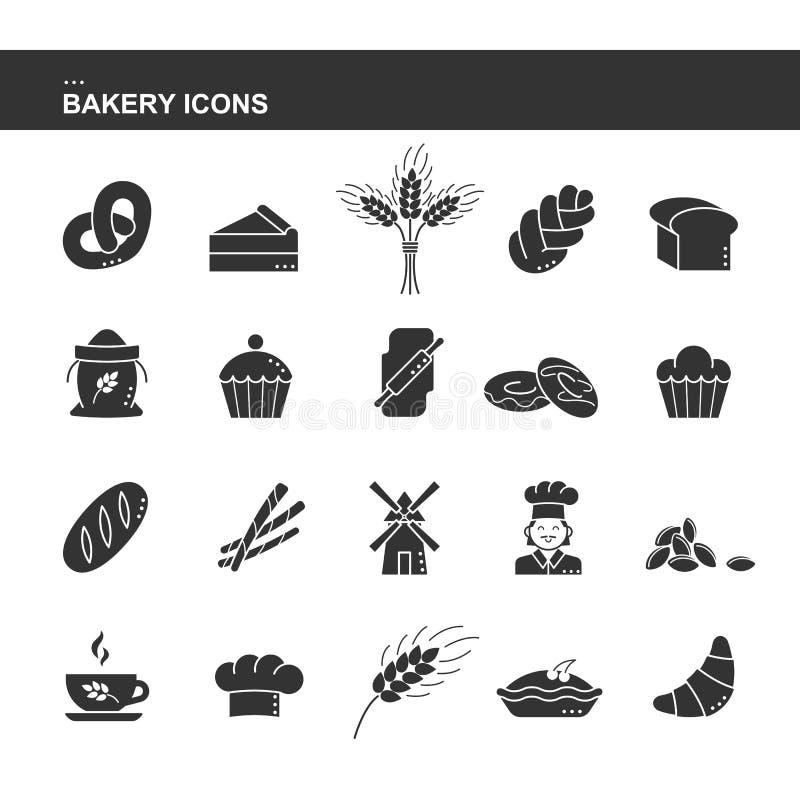 Odosobnionej czarnej sylwetki inkasowa ikona croissant chleb, tort, uszata banatka, szef kuchni, młyn, filiżanka, babeczka, prece ilustracji