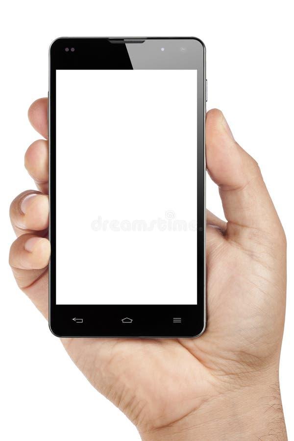 Odosobnionej Męskiej ręki Smartphone Pusty ekran zdjęcie stock