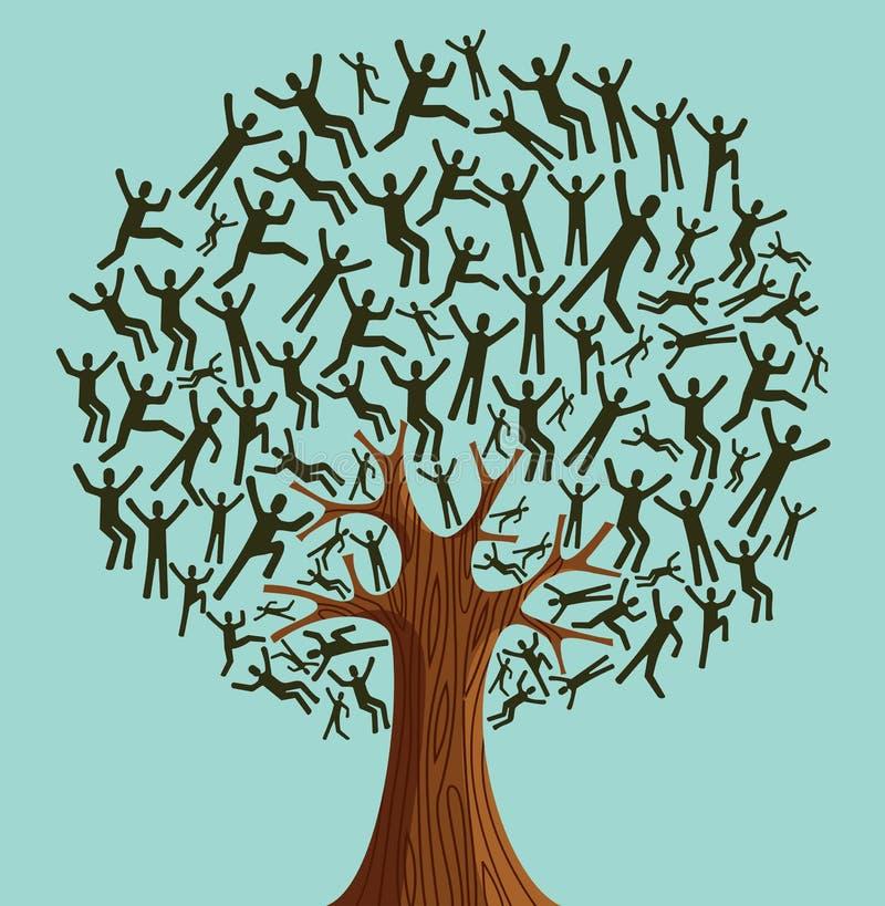 Odosobnionej Różnorodności Drzewni ludzie ilustracja wektor