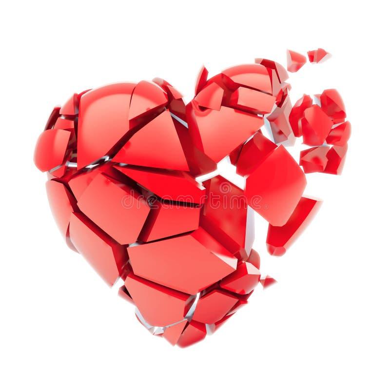 Odosobniony łamający czerwony serce ilustracja wektor
