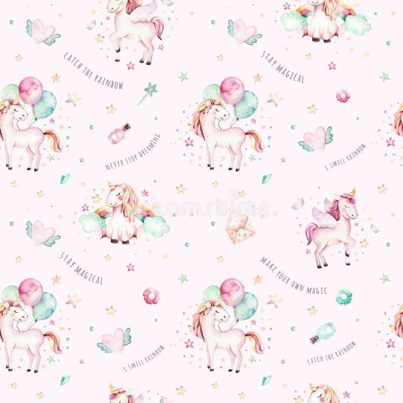 Odosobniony śliczny akwareli jednorożec wzór Pepiniery tęczy jednorożec aquarelle Princess unicornscollection Modne menchie royalty ilustracja