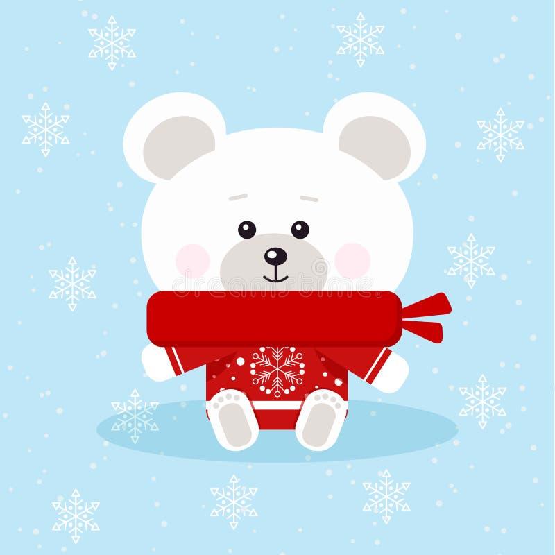 Odosobniony śliczny boże narodzenie niedźwiedź polarny z czerwonym szalikiem i pulowerem w obsiadanie pozie royalty ilustracja