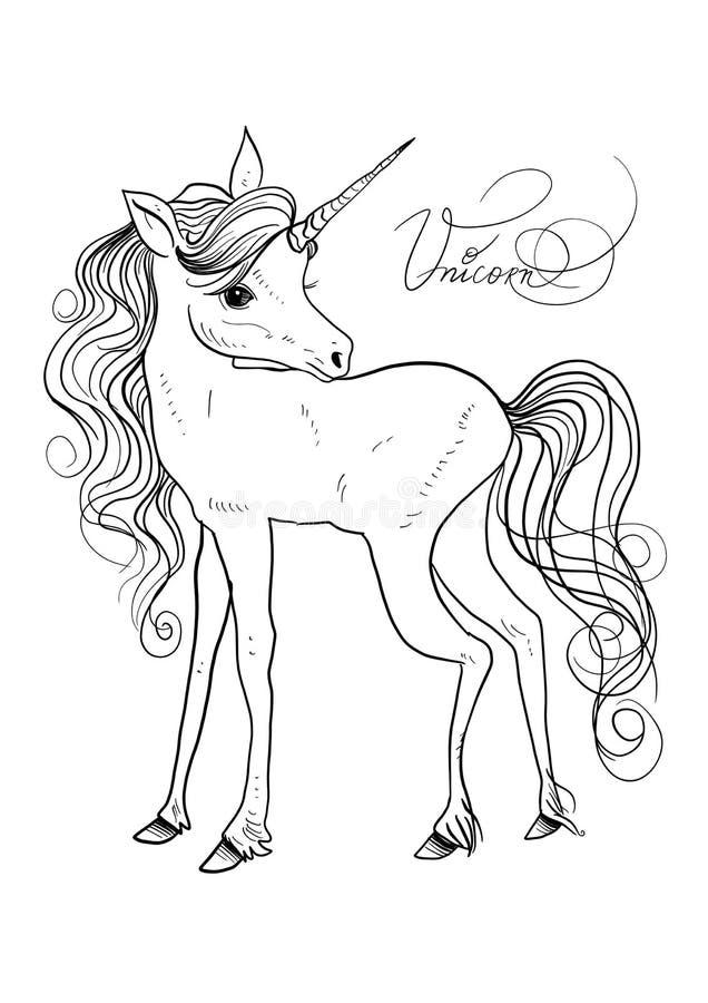 Odosobniony śliczny jednorożec clipart Pepinier jednorożec ilustracyjne Princess jednorożec plakatowe royalty ilustracja
