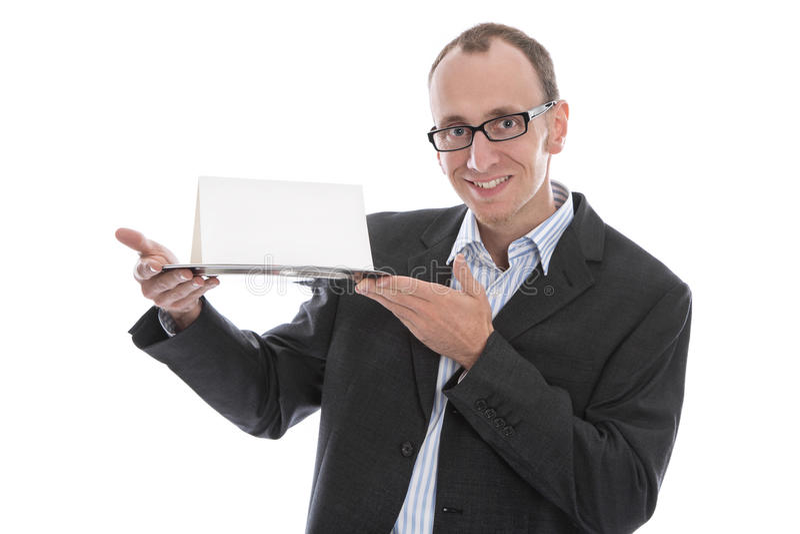 Odosobniony śmieszny biznesmen trzyma znaka na srebnym półmisku obraz royalty free