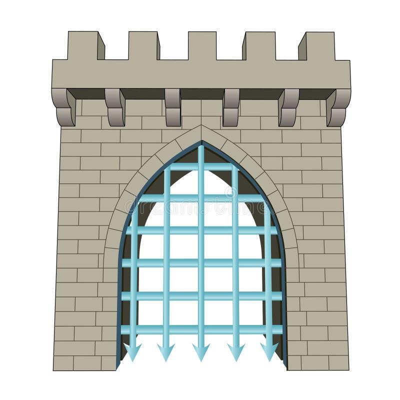 Odosobniony średniowieczny zamknięty brama wektor royalty ilustracja