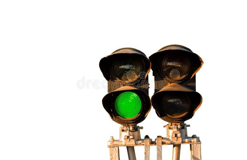Odosobniony światła ruchu pokazuje zielonego sygnał na kolei obraz stock