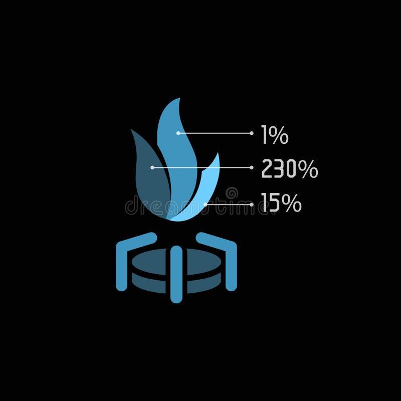 Odosobniony abstrakcjonistyczny błękita gazu płomienia wektoru logo Pożarnicza ilustracja Paliwowy logotyp royalty ilustracja