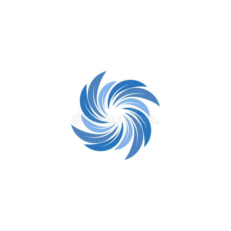 Odosobniony abstrakcjonistyczny błękitny kolor spining ślimakowatego loga Zawijasa logotyp Wodna ikona Vortex znak Ciekły symbol  royalty ilustracja