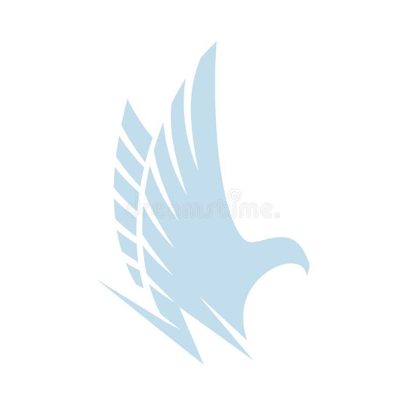 Odosobniony abstrakcjonistyczny błękitny koloru orzeł, jastrząb jastrząbek sylwetki logo Niebezpieczny łowiecki ptasi logotyp Usk royalty ilustracja