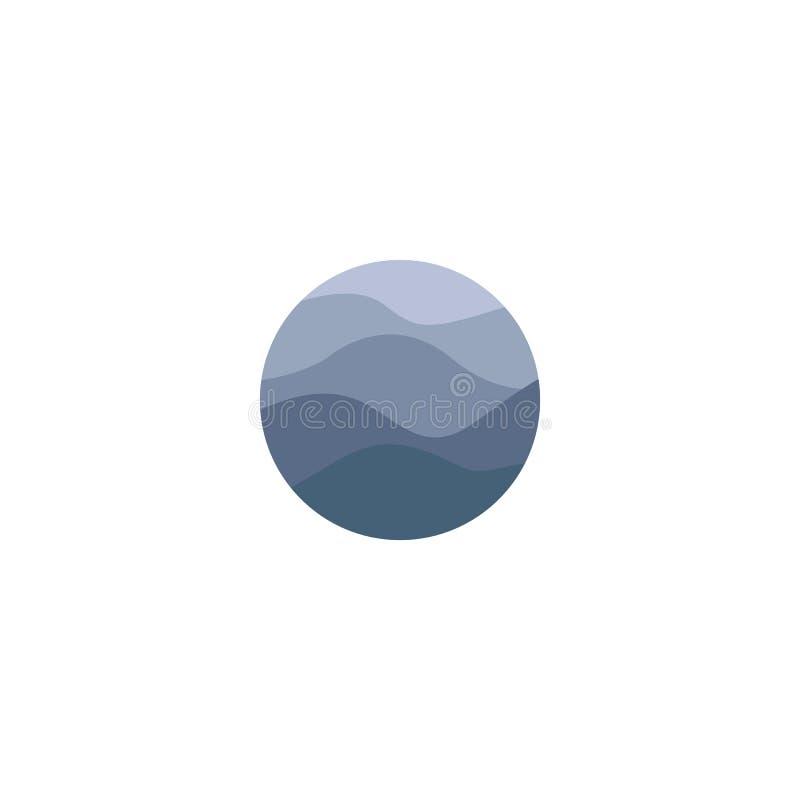 Odosobniony abstrakcjonistyczny błękitny koloru round kształta wody powierzchni logo na białym tle Ocean, morze, rzeka macha logo ilustracji