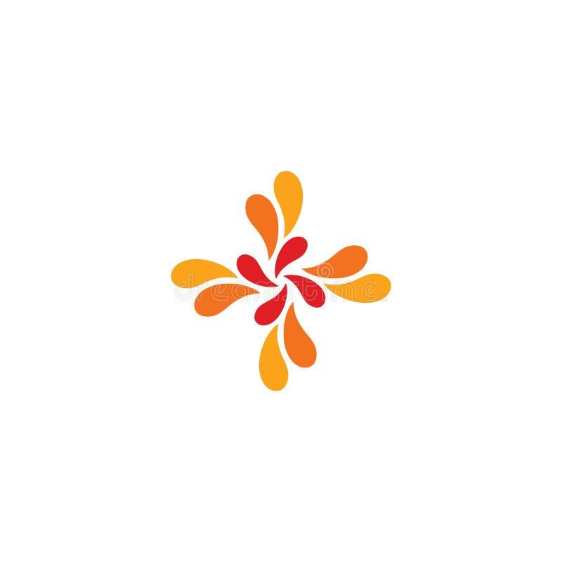 Odosobniony abstrakcjonistyczny czerwieni i pomarańcze przecinający wektorowy logo Medyczny logotyp Kwiatów płatki ilustracyjni d ilustracji