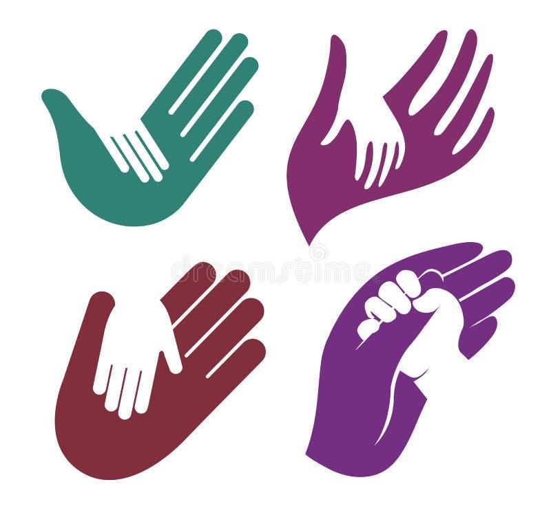 Odosobniony abstrakcjonistyczny kolorowy dziecka i dorosłego ręka w rękę loga set, dzieciaka macania rodzica logotypu palmowa kol ilustracji