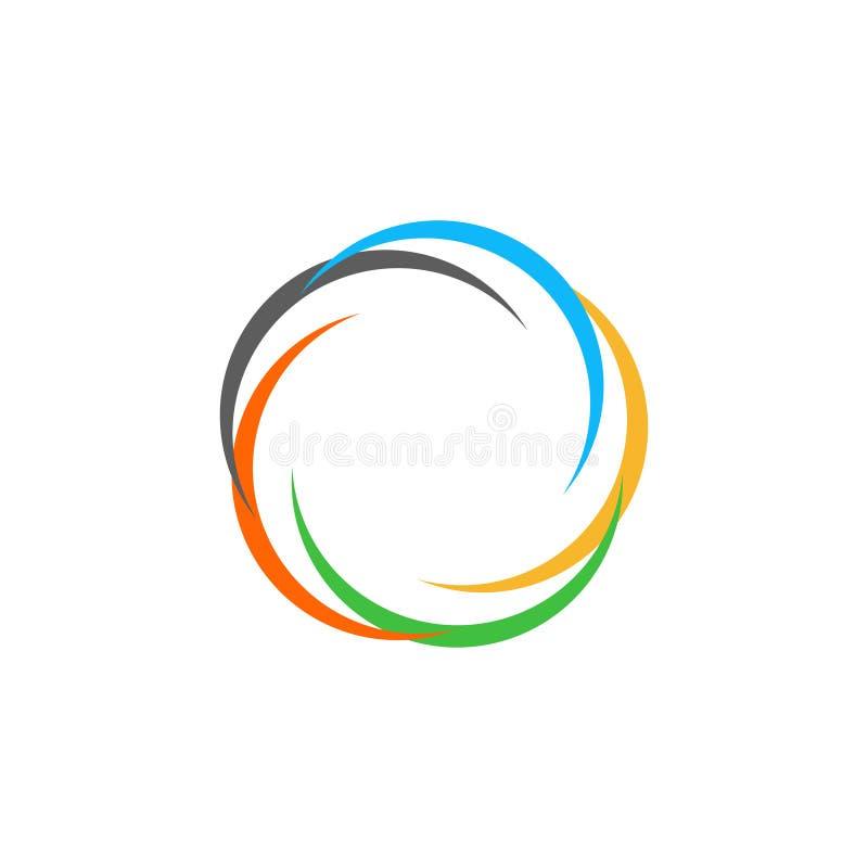 Odosobniony abstrakcjonistyczny kolorowy kółkowy słońce logo Round kształta tęczy logotyp Zawijasa, tornada i huraganu ikona, Spi ilustracji
