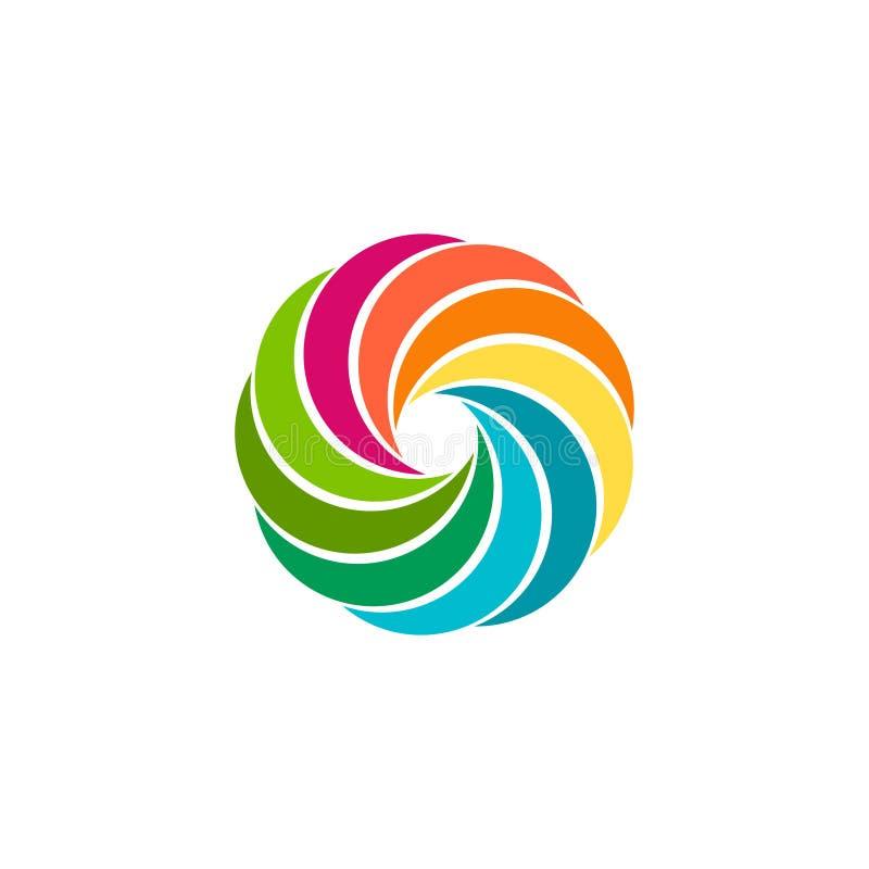 Odosobniony abstrakcjonistyczny kolorowy kółkowy słońce logo Round kształta tęczy logotyp Zawijasa, tornada i huraganu ikona, Spi ilustracja wektor