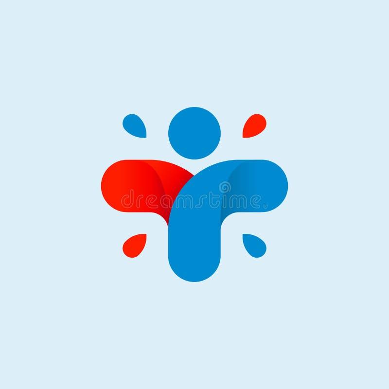 Odosobniony abstrakcjonistyczny kolorowy przecinający logo Ludzki sylwetka logotyp czarny zmiany ikony wątrobowy medyczny ochrony royalty ilustracja