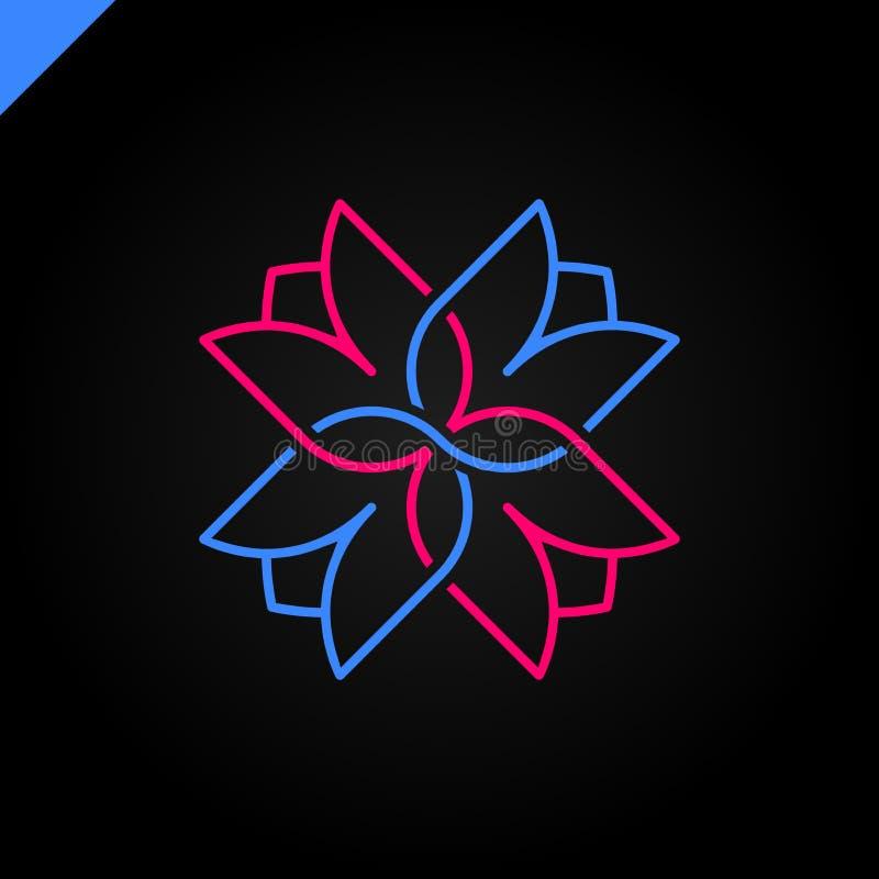 Odosobniony abstrakcjonistyczny kolorowy przecinający wektorowy logo Medyczny logotyp Kwiatów płatki ilustracyjni Kwiecisty dekor ilustracja wektor