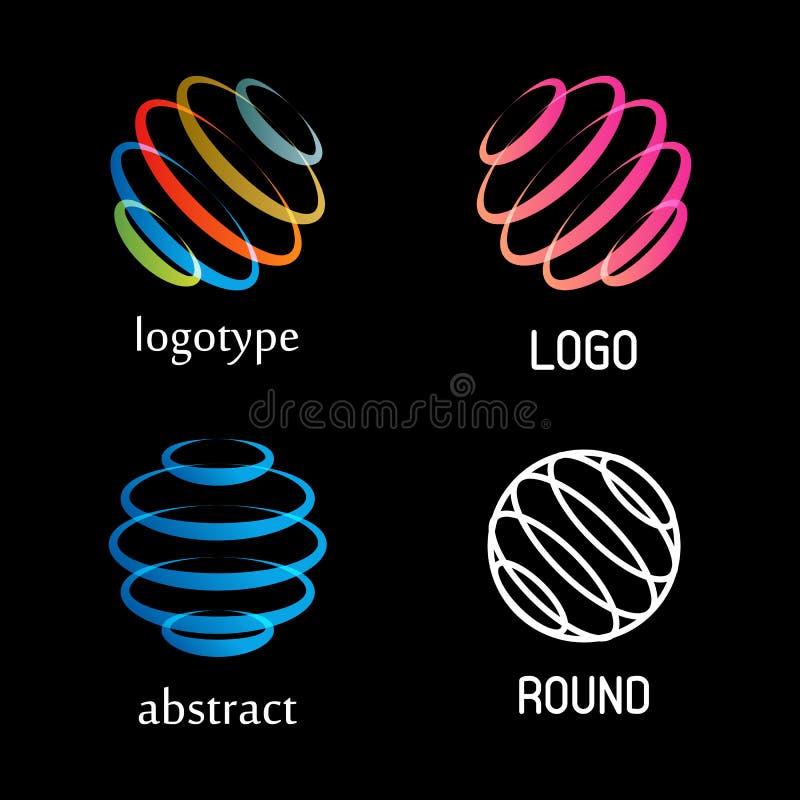 Odosobniony abstrakcjonistyczny kolorowy round kształta loga wektorowy set Dzwoni elementów logotypy inkasowych Wirować spiral ik royalty ilustracja