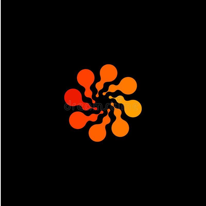 Odosobniony abstrakcjonistyczny round kształta koloru pomarańczowy logo, kropkowany stylizowany słońce logotyp na czarnym tle, za royalty ilustracja