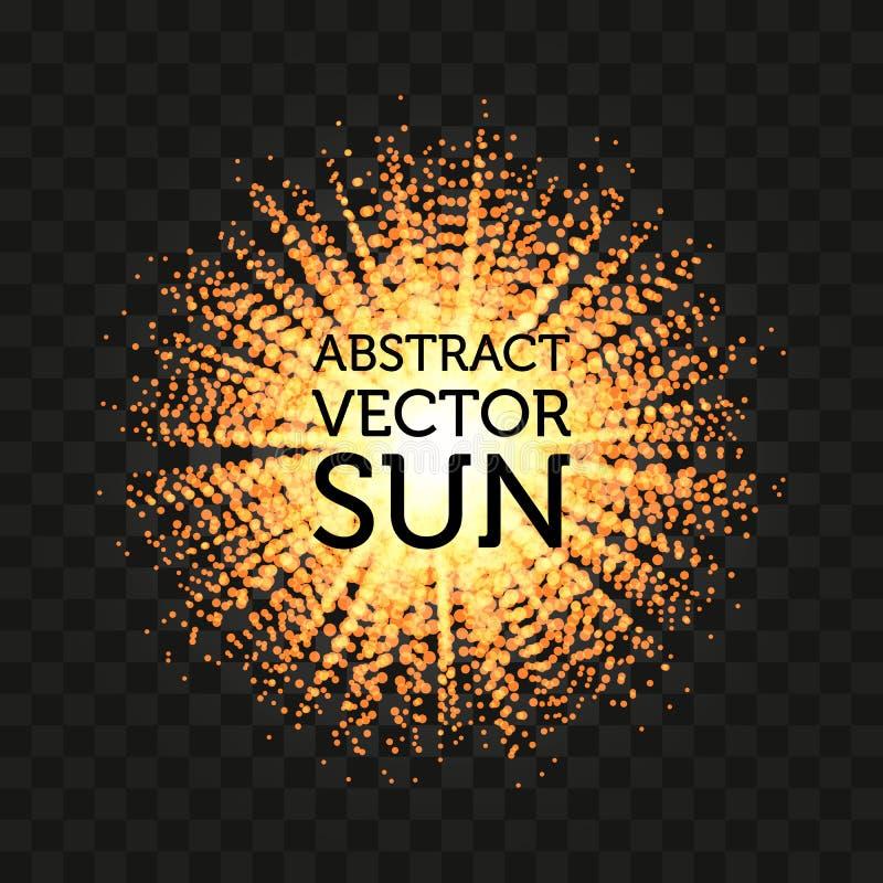 Odosobniony abstrakcjonistyczny round kształta słońca wektoru olśniewający tło Sunbeams tło royalty ilustracja